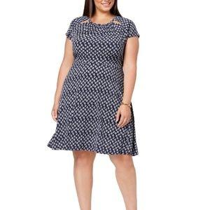 Michael Kors Batik Navy/White Fit & Flare Dress